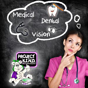 Nurse thinking of Medical, Dental, and Vision!